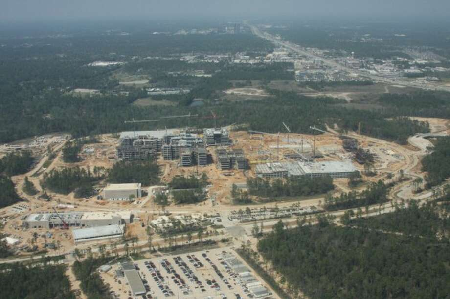 March 2013: Aerial shot of the new Exxon Mobil campus under construction north of The Woodlands. Photo: Ben Hafer