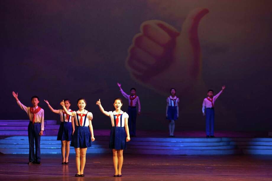 North Korean children perform on stage at Mangyongdae Children's Palace in Pyongyang Thursday, April 18, 2013. Photo: AP