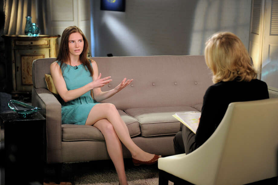 This April 9, 2013 photo released by ABC shows Amanda Knox, left, speaking during a taped interview with ABC News' Diane Sawyer in New York. Photo: AP