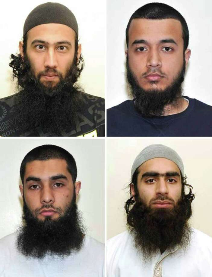 This is an undated handout photo issued by London's Metropolitan Police of top row left to right, Zahid Iqbal, Mohammed Sharfaraz Ahmed and bottom row left to right Umar Arshad and  Syed Farhan Hussain. The  four men have been jailed in Britain for discussing plans to carry out a terrorist attack using homemade guns and bombs. they pleaded guilty in March to engaging in conduct in preparation for acts of terrorism. Photo: AP