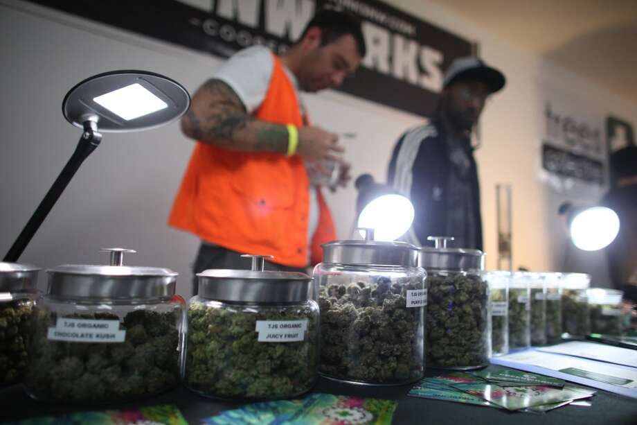 "Marijuana from the Greenworks cooperative is shown during ""Studio 4/20,"" a legal marijuana celebration put on by DOPE Magazine at 7 Point Studios on April 20, 2013 on South Dearborn Street. The event billed itself as the largest local marijuana celebration since pot was legalized by Washington voters. (Joshua Trujillo, seattlepi.com) Photo: JOSHUA TRUJILLO, SEATTLEPI.COM"