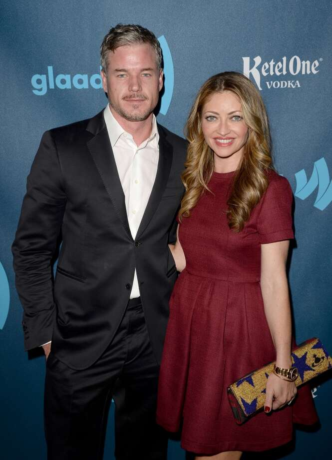 LOS ANGELES, CA - APRIL 20:  Actors Eric Dane (L) and Rebecca Gayheart arrive at the 24th Annual GLAAD Media Awards presented by Ketel One and Wells Fargo at JW Marriott Los Angeles at L.A. LIVE on April 20, 2013 in Los Angeles, California.  (Photo by Jason Merritt/Getty Images for GLAAD)