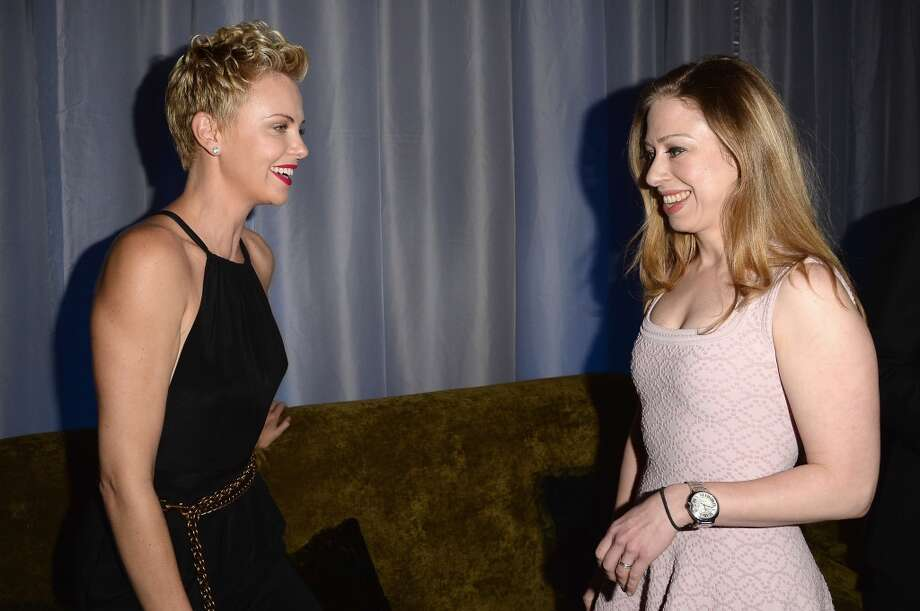 LOS ANGELES, CA - APRIL 20:  Actress Charlize Theron (L) and Chelsea Clinton (R) attend the 24th Annual GLAAD Media Awards presented by Ketel One and Wells Fargo at JW Marriott Los Angeles at L.A. LIVE on April 20, 2013 in Los Angeles, California.  (Photo by Jason Merritt/Getty Images for GLAAD)