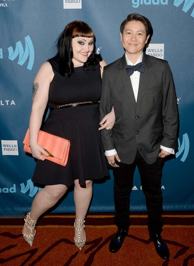 LOS ANGELES, CA - APRIL 20:  Singer Beth Ditto (L) and Kristen Ogata arrive at the 24th Annual GLAAD Media Awards presented by Ketel One and Wells Fargo at JW Marriott Los Angeles at L.A. LIVE on April 20, 2013 in Los Angeles, California.  (Photo by Jason Merritt/Getty Images for GLAAD)