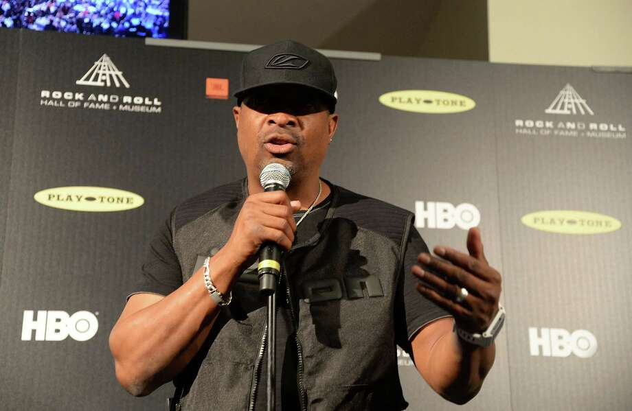 Inductee Chuck D of Public Enemy speaks in the press room at the 28th Annual Rock and Roll Hall of Fame Induction Ceremony at Nokia Theatre L.A. Live on April 18, 2013 in Los Angeles, California. Photo: Jason Merritt, Getty Images / 2013 Getty Images
