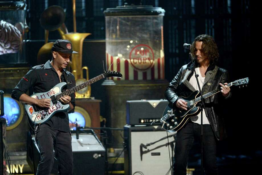 (L-R) Musicians Tom Morello and Chris Cornell perform onstage at the 28th Annual Rock and Roll Hall of Fame Induction Ceremony at Nokia Theatre L.A. Live on April 18, 2013 in Los Angeles, California. Photo: Kevin Winter, Getty Images / 2013 Getty Images