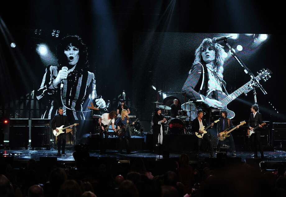 LOS ANGELES, CA - APRIL 18: (L-R) Musicians Mike McCready of Pearl Jam and Chris Cornell and inductees Nancy Wilson, Ann Wilson, and Jerry Cantrell  of Heart perform on stage at the 28th Annual Rock and Roll Hall of Fame Induction Ceremony at Nokia Theatre L.A. Live on April 18, 2013 in Los Angeles, California. Photo: Kevin Winter, Getty Images / 2013 Getty Images