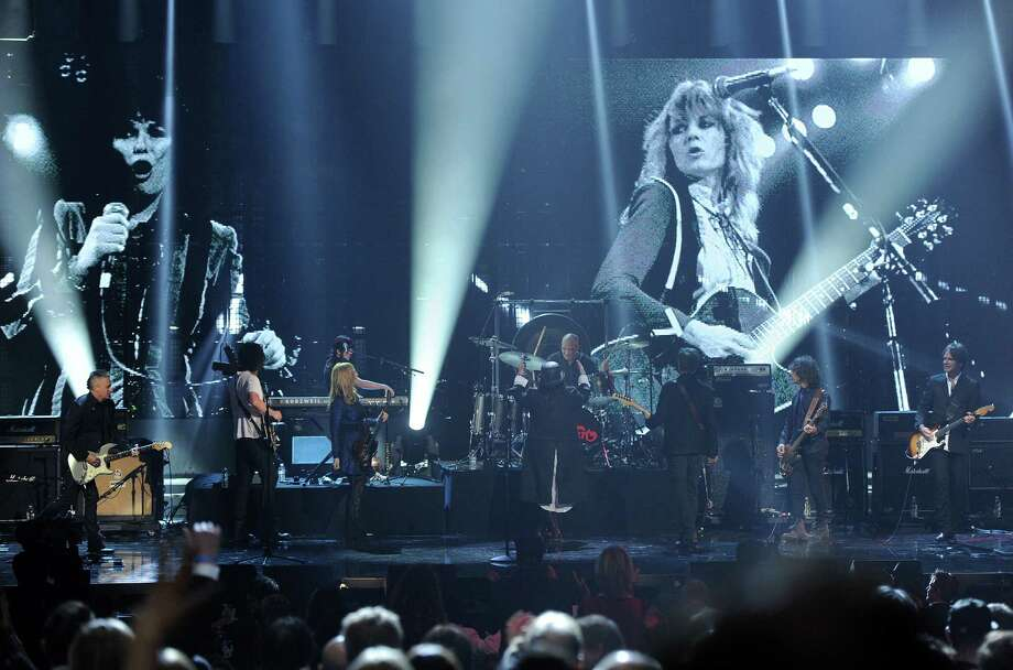 LOS ANGELES, CA - APRIL 18:  (L-R) Musicians  Mike McCready of Pearl Jam and Chris Cornell and inductees Nancy Wilson, Ann Wilson, and Jerry Cantrell  perform on stage at the 28th Annual Rock and Roll Hall of Fame Induction Ceremony at Nokia Theatre L.A. Live on April 18, 2013 in Los Angeles, California. Photo: Kevin Winter, Getty Images / 2013 Getty Images