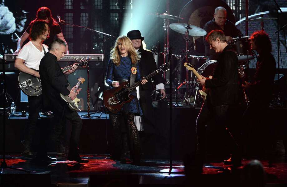 From Left: Musicians Mike McCready of Pearl Jam and Chris Cornell and inductees Nancy Wilson, Ann Wilson, and Jerry Cantrell  perform on stage at the 28th Annual Rock and Roll Hall of Fame Induction Ceremony at Nokia Theatre L.A. Live on April 18, 2013 in Los Angeles, California. Photo: Kevin Winter, Getty Images / 2013 Getty Images