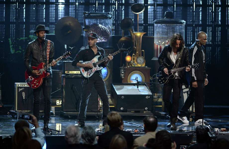 LOS ANGELES, CA - APRIL 18: (L-R) Musicians Gary Clark Jr., Tom Morello and Chris Cornell perform onstage at the 28th Annual Rock and Roll Hall of Fame Induction Ceremony at Nokia Theatre L.A. Live on April 18, 2013 in Los Angeles, California. Photo: Kevin Winter, Getty Images / 2013 Getty Images