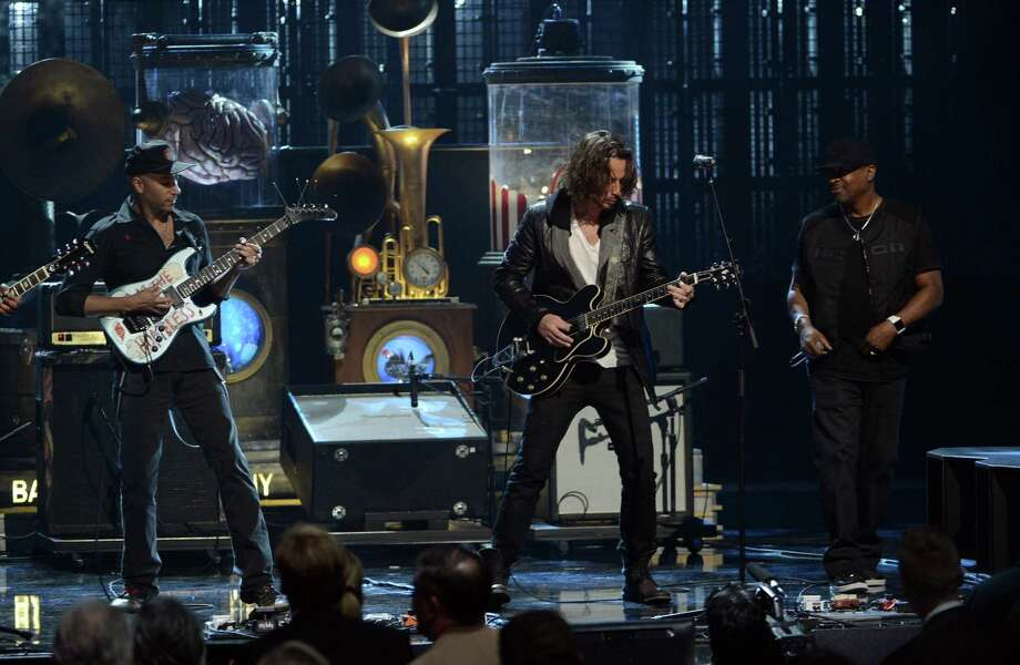 LOS ANGELES, CA - APRIL 18: (L-R) Musicians Tom Morello and Chris Cornell and inductee Chuck D of Public Enemy perform onstage at the 28th Annual Rock and Roll Hall of Fame Induction Ceremony at Nokia Theatre L.A. Live on April 18, 2013 in Los Angeles, California. Photo: Kevin Winter, Getty Images / 2013 Getty Images