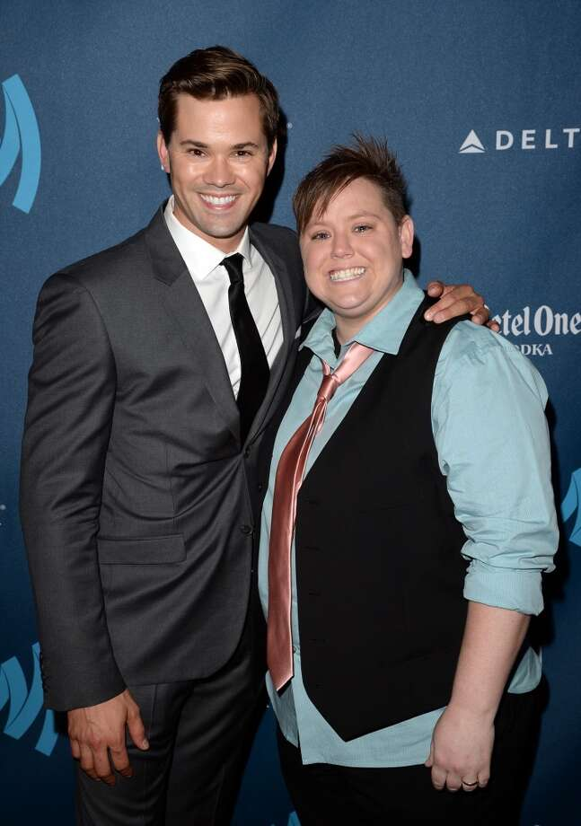LOS ANGELES, CA - APRIL 20:  Actor Andrew Rannells (L) and Jen Tyrell arrive at the 24th Annual GLAAD Media Awards presented by Ketel One and Wells Fargo at JW Marriott Los Angeles at L.A. LIVE on April 20, 2013 in Los Angeles, California.  (Photo by Jason Merritt/Getty Images for GLAAD)