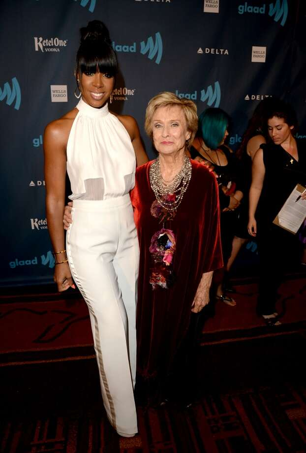 LOS ANGELES, CA - APRIL 20:  Singer Kelly Rowland (L) and actress Cloris Leachman attend the 24th Annual GLAAD Media Awards presented by Ketel One and Wells Fargo at JW Marriott Los Angeles at L.A. LIVE on April 20, 2013 in Los Angeles, California.  (Photo by Jason Merritt/Getty Images for GLAAD)
