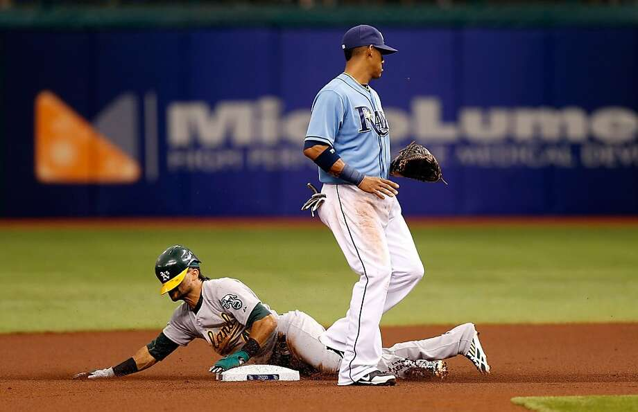 ST. PETERSBURG - APRIL 21:  Designated hitter Coco Crisp #4 of the Oakland Athletics steals second base as shortstop Yunel Escobar #11 of the Tampa Bay Rays looks on during the game at Tropicana Field on April 21, 2013 in St. Petersburg, Florida.  (Photo by J. Meric/Getty Images) Photo: J. Meric, Getty Images