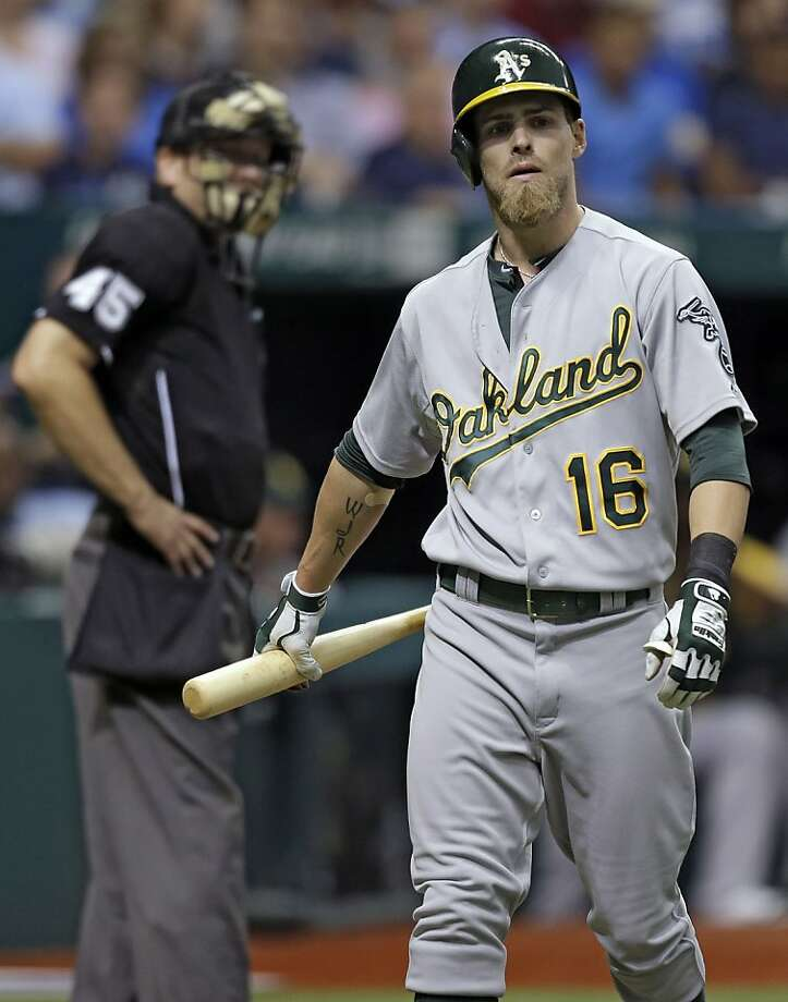 Oakland Athletics' Josh Reddick walsk out of the batters box after taking a called strike on a pitch by Tampa Bay Rays starting pitcher Roberto Hernandez during the fourth inning of a baseball game Sunday, April 21, 2013, in St. Petersburg, Fla. (AP Photo/Chris O'Meara) Photo: Chris O'Meara, Associated Press