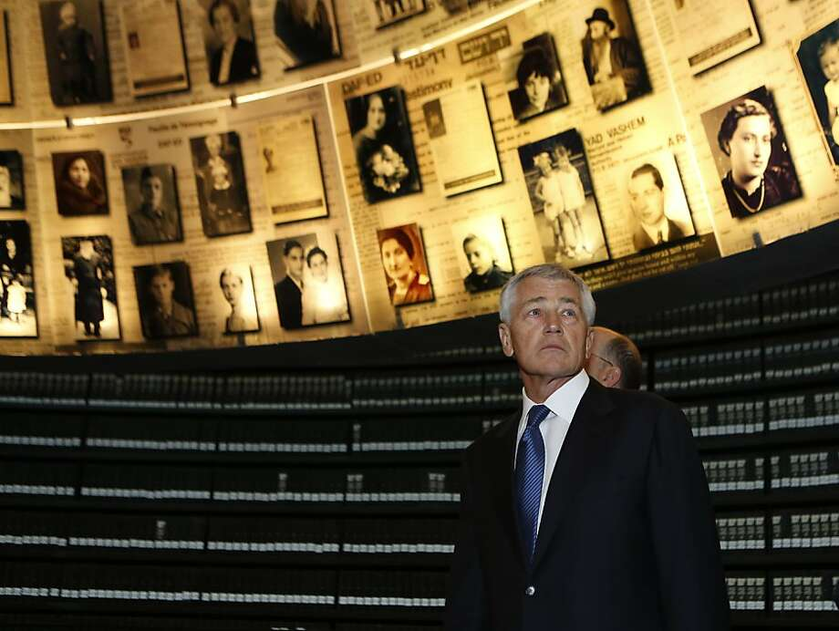 U.S. Secretary of Defense Chuck Hagel is given a tour of the Yad Vashem museum in Jerusalem. Photo: Baz Ratner, Associated Press