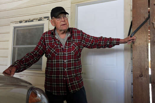 Bill Hromadka, 84, talks, Sunday April 21, 2013, about the damage to his home after an explosion at a fertilizer plant that occurred Wednesday evening in West, Tx. Photo: Edward A. Ornelas, San Antonio Express-News / © 2013 San Antonio Express-News