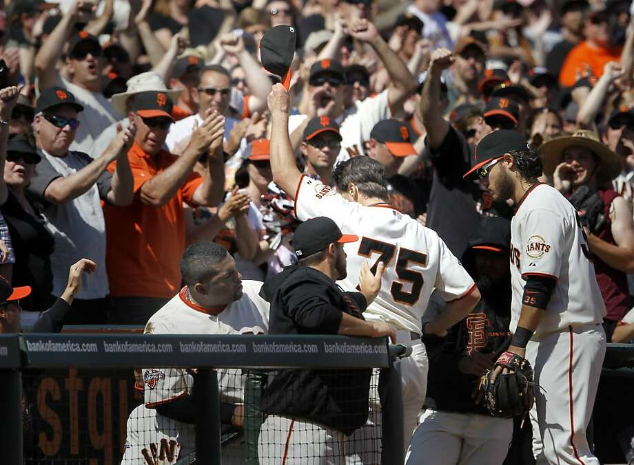 Barry Zito tipped his cap as he disappeared into the dugout after finishing the seventh inning with a shutout. The San Francisco Giants versus the San Diego Padres Sunday April 21, 2013 at AT&T park in San Francisco, Calif. Photo: Brant Ward, The Chronicle