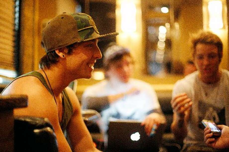 Emblem3 chat inside the tour bus before the show at Stereo Live.