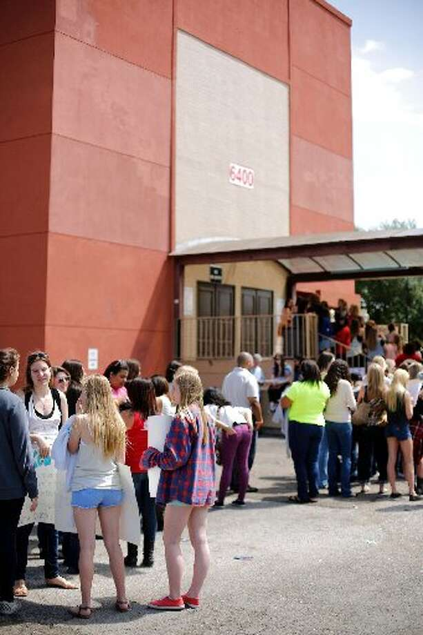 Fans wait outside Stereo Live for Emblem3.