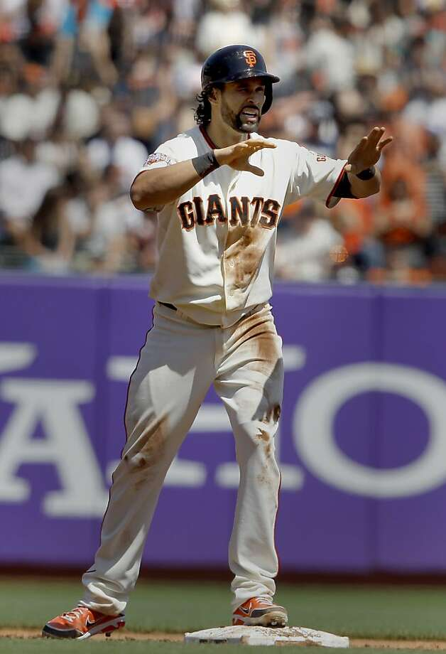Angel Pagan motioned for time out after his double scored the Giants first two runs in the third inning. The San Francisco Giants versus the San Diego Padres Sunday April 21, 2013 at AT&T park in San Francisco, Calif. Photo: Brant Ward, The Chronicle