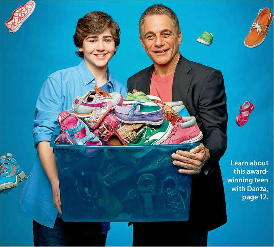 On Make a Difference Day in 2012 in Cranston, R.I.,, Nick Lowinger  (left) with the help of 78 volunteers provided shoes to 496 kids in six states  through a nonprofit he started called 'Gotta Have Sole.' Actor Tony Danza says he is honored to be the keynote speaker for the Make A  Difference Day Awards, presented Thursday, April 25, in Washington, D.C.   Among the honorees is Lowinger. Photo: David Yellen, USA Weekend