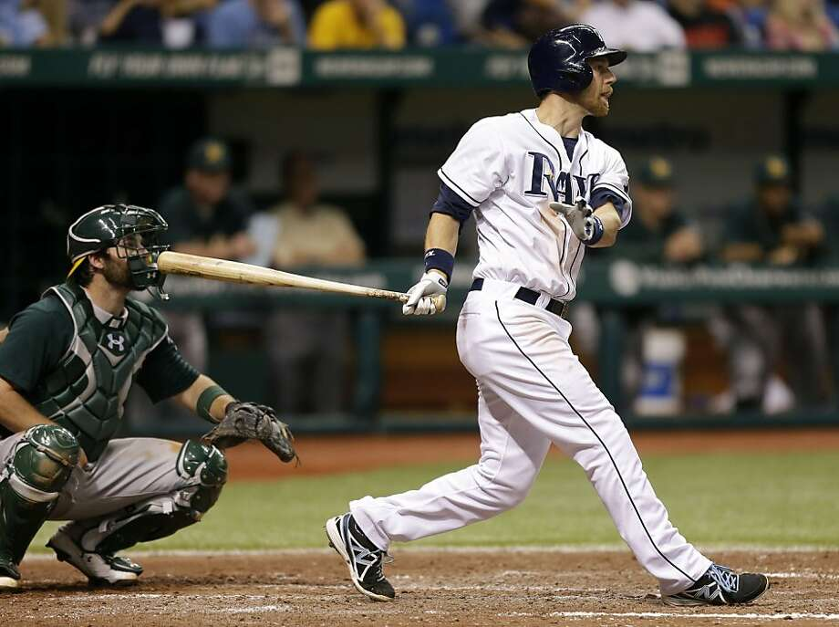 Tampa Bay Rays' Ben Zobrist bats against the Oakland Athletics during the ninth inning of a baseball game Saturday, April 20, 2013, in St. Petersburg, Fla. Catching for the Athletics' is Derek Norris. (AP Photo/Chris O'Meara) Photo: Chris O'Meara, Associated Press