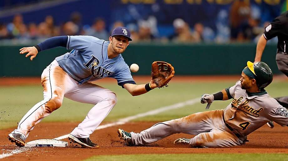 ST. PETERSBURG - APRIL 21:  Infielder Evan Longoria #3 of the Tampa Bay Rays takes the throw at third as designated hitter Coco Crisp #4 of the Oakland Athletics steals third during the game at Tropicana Field on April 21, 2013 in St. Petersburg, Florida.  (Photo by J. Meric/Getty Images) Photo: J. Meric, Getty Images