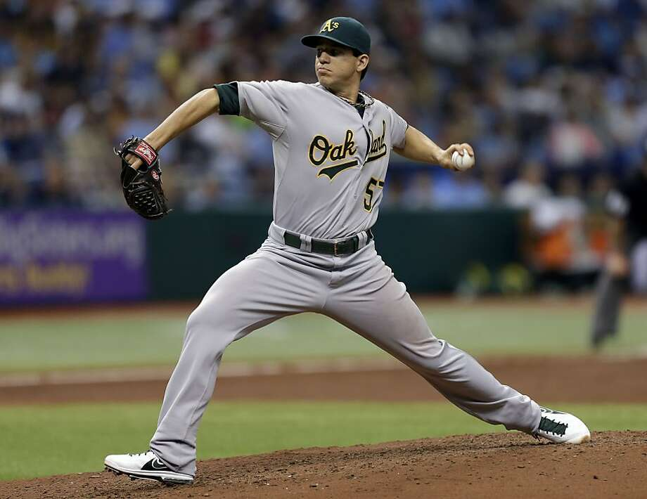 Oakland Athletics starting pitcher Tommy Milone delivers to Tampa Bay Rays' Ben Zobrist during the fifth inning of a baseball game Sunday, April 21, 2013, in St. Petersburg, Fla. (AP Photo/Chris O'Meara) Photo: Chris O'Meara, Associated Press