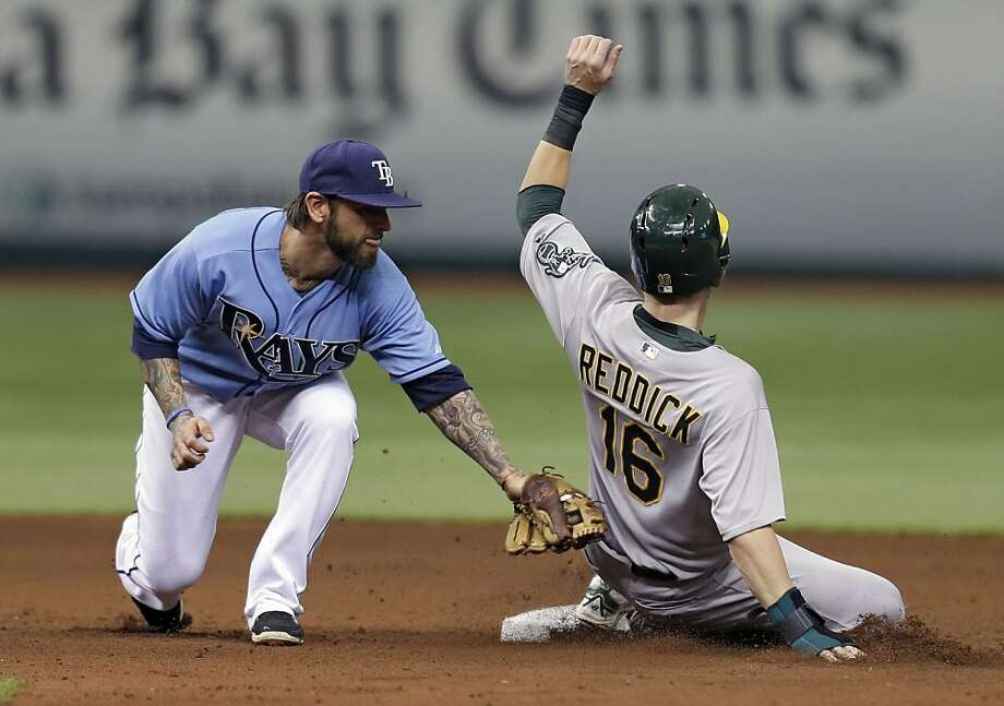 Oakland Athletics' Josh Reddick (16) steals second base as Tampa Bay Rays' Ryan Roberts is late with the tag during the fourth inning of an MLB American League baseball game Sunday, April 21, 2013, in St. Petersburg, Fla. (AP Photo/Chris O'Meara) Photo: Chris O'Meara, Associated Press