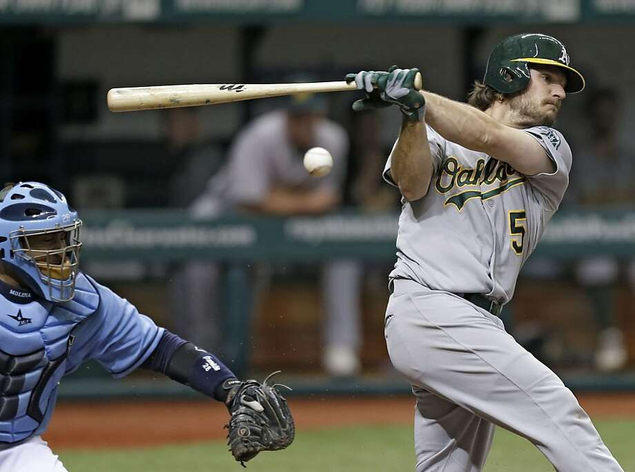 Oakland Athletics' John Jaso fouls off a fourth inning pitch as Tampa Bay Rays catcher Jose Molina looks on during a baseball game Sunday, April 21, 2013, in St. Petersburg, Fla. (AP Photo/Chris O'Meara) Photo: Chris O'Meara, Associated Press