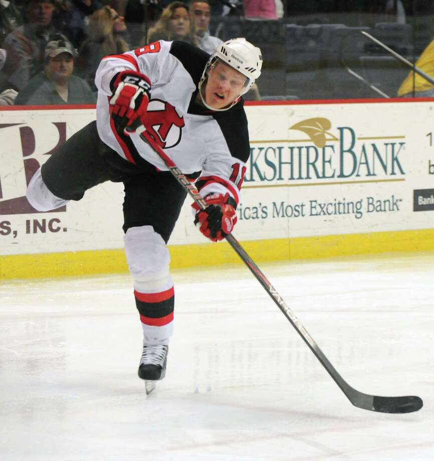 Albany Devils? Albany Devils? Harri Pesonen take a shot at goal in the second period against the Adirondack Phantoms, Sunday evening April 21, 2013, at the Times Union Center in Albany, N.Y. (Will Waldron/Times Union) Photo: Will Waldron
