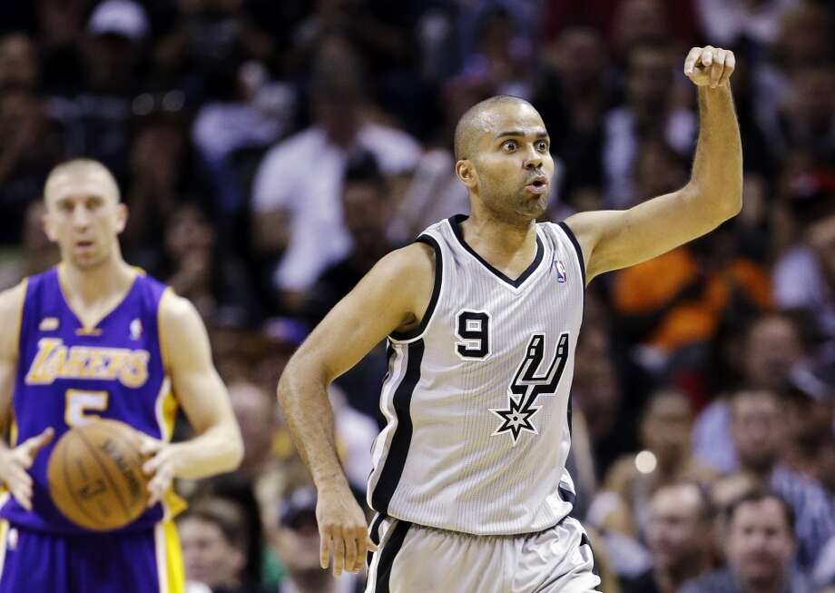 San Antonio Spurs\' Tony Parker (9), of France, asks an official for a goaltending call during the first half of Game 1 of their first-round NBA playoff basketball series against the Los Angeles Lakers, Sunday, April 21, 2013, in San Antonio.