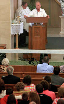 West Mayor Tommy Muska speaks ,Sunday April 21, 2013, during a mass at Church of the Assumption after an explosion at a fertilizer plant that occurred Wednesday evening in West, Tx. Photo: Edward A. Ornelas, Express-News / © 2013 San Antonio Express-News