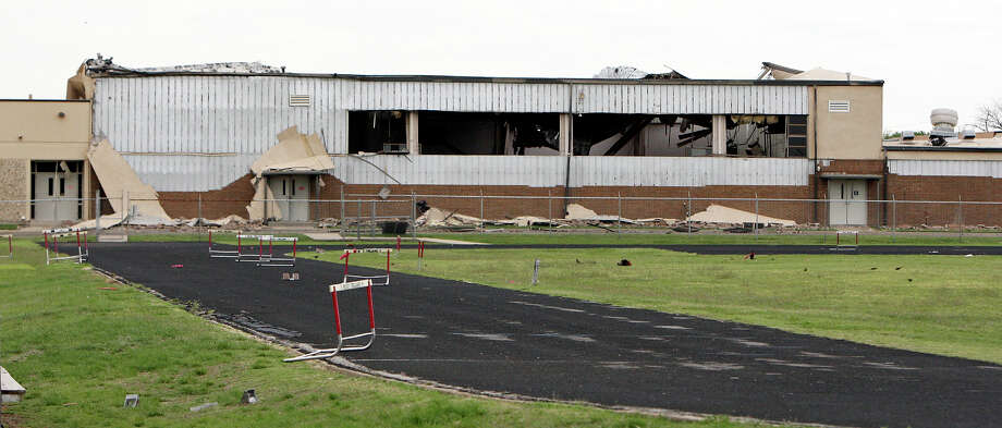 A view of West Intermediate School ,Sunday April 21, 2013, that was damaged by an explosion at a fertilizer plant that occurred Wednesday evening in West, Tx. Photo: Edward A. Ornelas, Express-News / © 2013 San Antonio Express-News