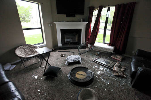 A view of damage to Trish Webre's home, Sunday April 21, 2013, after an explosion at a fertilizer plant that occurred Wednesday evening in West, Tx. Photo: Edward A. Ornelas, Express-News / © 2013 San Antonio Express-News