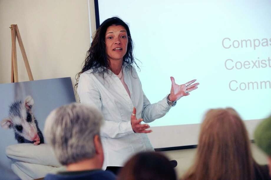 Kathie Kovacs, founding director, speaks at the wildlife education class at Greenwich Animal Control, in Greenwich, Conn., Sunday, April, 21, 2013. The Wildlife Center of Fairfield County and Greenwich Animal Control came together to educate the community about wildlife. Photo: Helen Neafsey / Greenwich Time