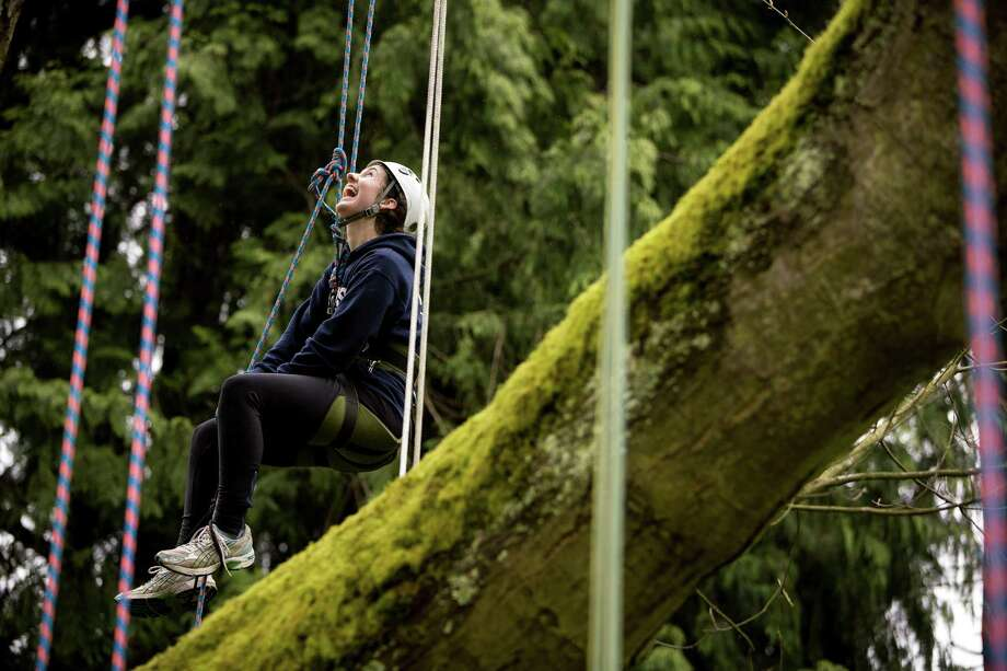 "Seattle University freshman Olivia Kerwin laughs with a friend at a tree-climbing event put on by the Seattle-local, eco-adventuring Canopy Climbers in honor of Earth Day on Sunday at Volunteer Park in Seattle. Attendees took turns ascending a 110-foot red oak named ""Her Majesty."" Photo: JORDAN STEAD, SEATTLEPI.COM / SEATTLEPI.COM"