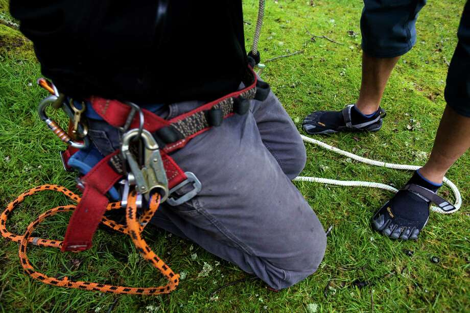 "While some climbers opted for regular shoes, Lorenzo Delara, right, used toe-shoes for his ascent at a tree-climbing event put on by the Seattle-local, eco-adventuring Canopy Climbers in honor of Earth Day on Sunday, at Volunteer Park in Seattle. Attendees took turns ascending a 110-foot red oak named ""Her Majesty."" Photo: JORDAN STEAD, SEATTLEPI.COM / SEATTLEPI.COM"