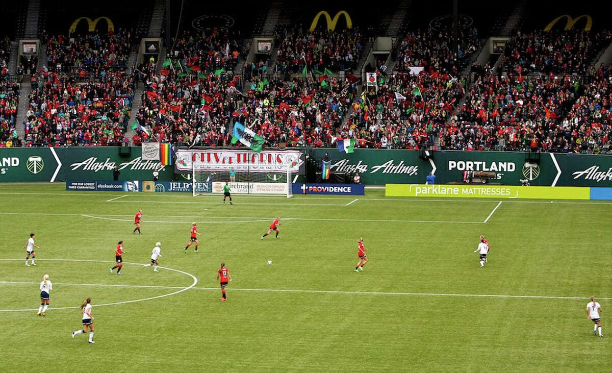 The Thorns and Seattle Reign play at JELD-WEN Field on April 21, 2013.