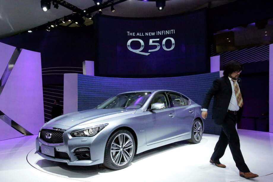 Infiniti's new Q50 is displayed at the Shanghai International Automobile Industry Exhibition (AUTO Shanghai) media day in Shanghai, China Saturday, April 20, 2013. Photo: Eugene Hoshiko
