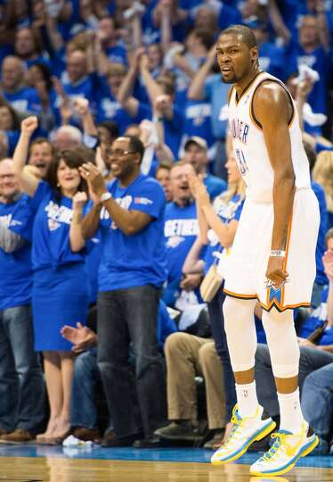 Thunder forward Kevin Durant celebrates after scoring during the first half.