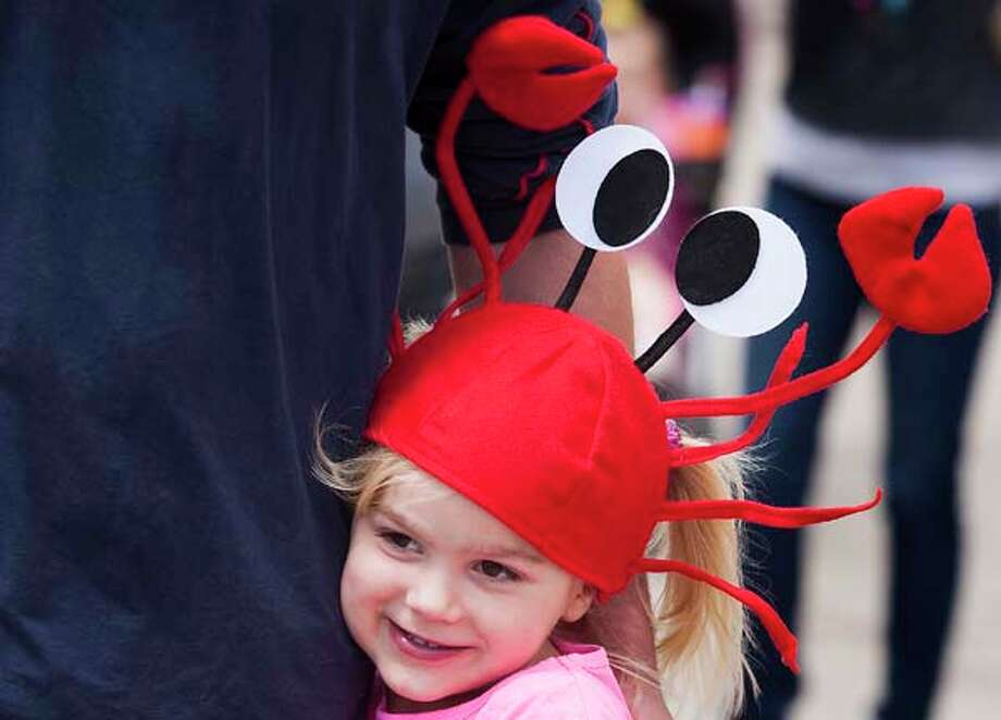 Jayden Hall, 5, wears her crawfish hat. Photo: J. Patric Schneider, For The Chronicle / © 2013 Houston Chronicle