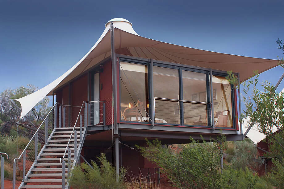 LONGITUDE 131 near Ayers Rock, Australia In addition to offering upscale accommodations, Longitude 131 is located just miles from Uluru-Kata Tjuta National Park, a World Heritage site. The luxury camp was designed to minimize any damage to the natural environment. www.longitude131.com.au L.P.