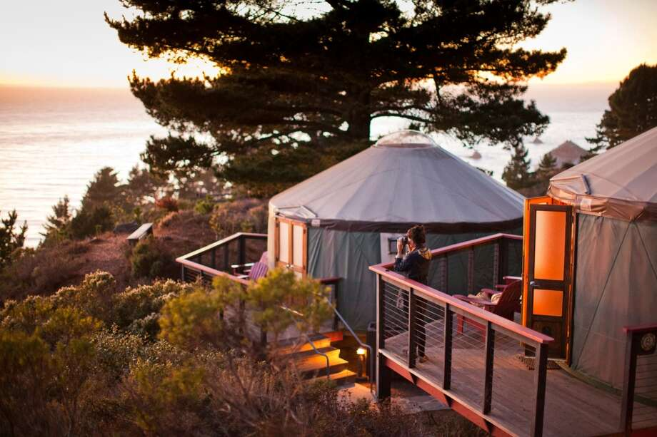 TREEBONES RESORTin Big Sur, Calif.  Perched above the Pacific Ocean, this tranquil retreat is home to 16 cozy yurt, plus \'bring and pack in your own ... everything\' campsites, one of which features a wood-woven nest big enough for two adults to sleep in. The off-the-grid property gets power from two zero-emissions turbines. Heat from the turbines\' exhaust warms the pool and the hot tub. treebonesresort.comL.I.