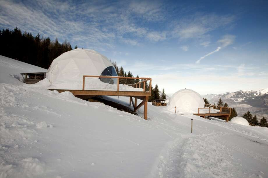 WHITEPOD in Les Cerniers, Switzerland Enjoy the Swiss Alps in low-impact style. Each pod (dome-shaped tent) comes with a wood-burning stove and full-service bathroom, along with impressive views of Lake Geneva. www.whitepod.com L.P.