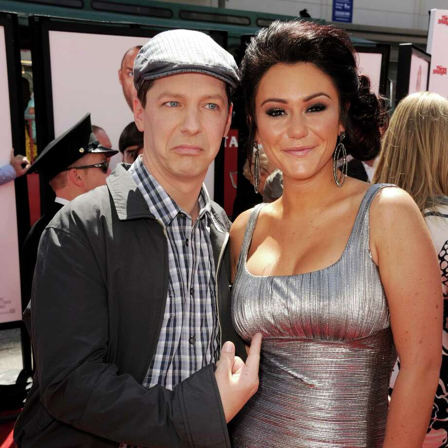 "Actor Sean Hayes, left, and TV personality Jennifer ""JWOWW\"" Farley have some fun at \""The Three Stooges\"" premiere. Photo: Kevin Winter, Getty Images / 2012 Getty Images"