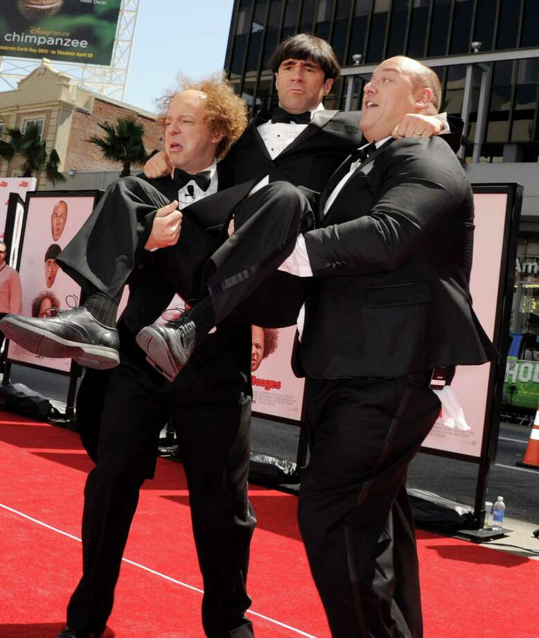 "Actors Sean Hayes, left, Chris Diamantopoulos and Will Sasso arrive at Hollywood Boulevard for the premiere of ""The Three Stooges.\"" Photo: Kevin Winter, Getty Images / 2012 Getty Images"