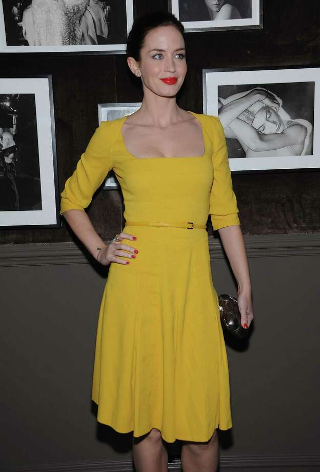 Now for a series of Easter Egg-colored outfits. First up is Emily Blunt in lemon-yellow at an ELIE SAAB private dinner at Crown in New York City. Photo: Dimitrios Kambouris, Getty Images / 2012 Getty Images