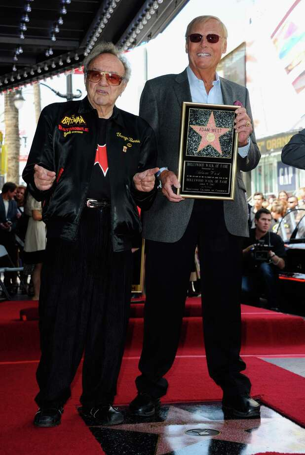 Holy cow Batman! George Barris, left, with actor Adam West during an event honoring West with a Hollywood Walk of Fame star. Photo: Alberto E. Rodriguez, Getty Images / 2012 Getty Images